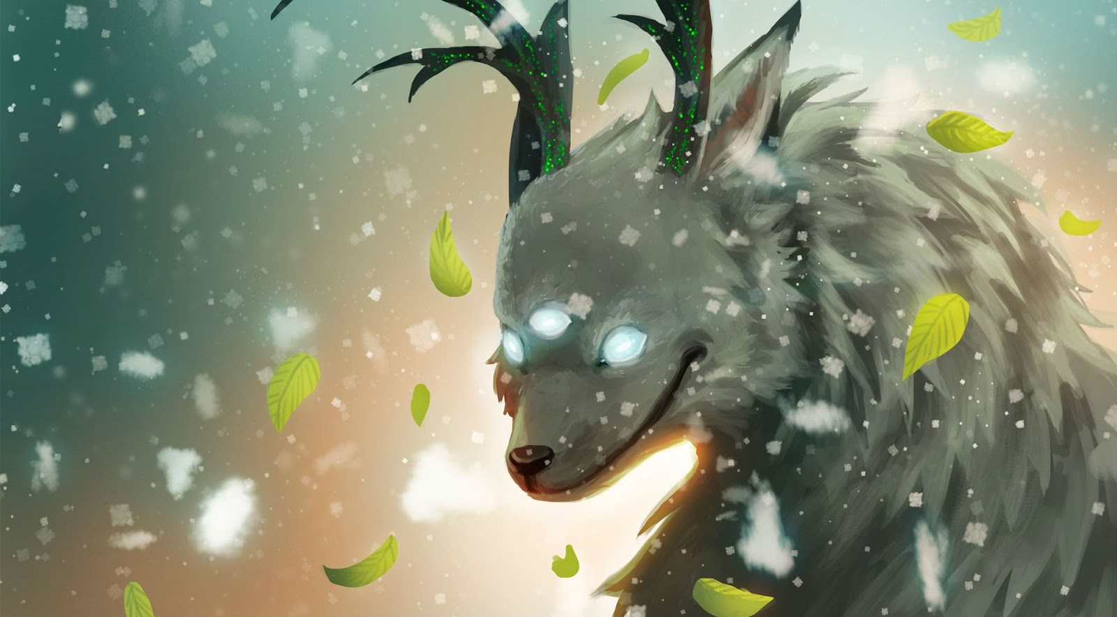 Abstract Wildlife White Snow Animals Fantasy Wallpaper Image