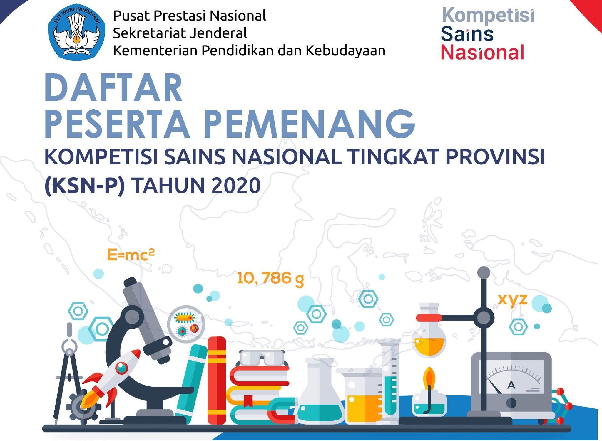 Pengumuman Peserta Pemenang Kompetisi Sains Nasional Tingkat Propinsi (KSN-P) Tahun 2020