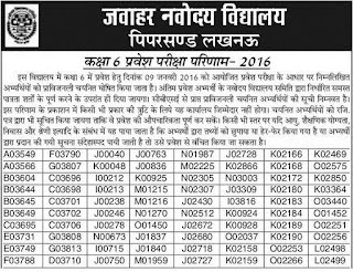 UP Navodaya Vidyalaya Result 2016, 6th class Merit JNVST