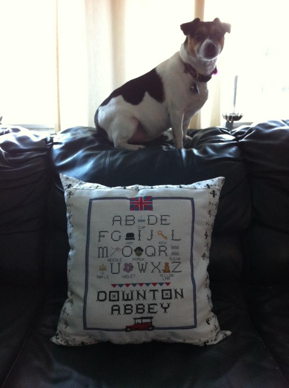 downton abbey alphabet cross stitch pillow