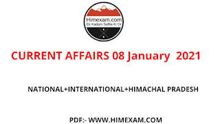 Daily Current Affairs 08 January  2021