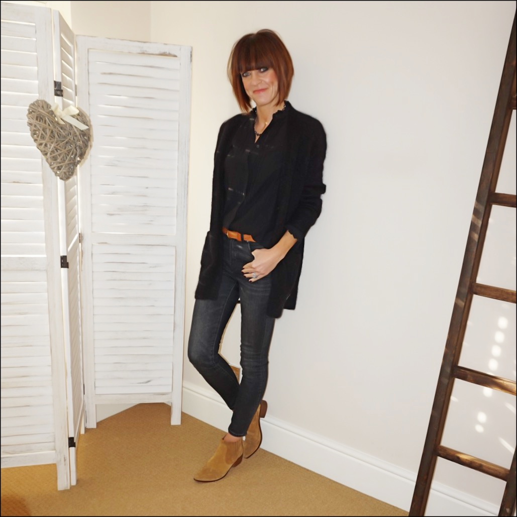 my midlife fashion, isabel marant etoile mohair boyfriend cardigan, h and m ruffle embroidered blouse, chanel vintage pearl necklace, j crew 9 high rise toothpick jean in charcoal, zara western heel suede ankle boots