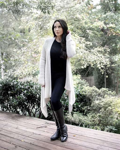 Super Cozy Waterfall Cardigan in a waffle knit, paired with a ribbed top, ponte pants and the perfect riding boots www.MalenaHaas.com