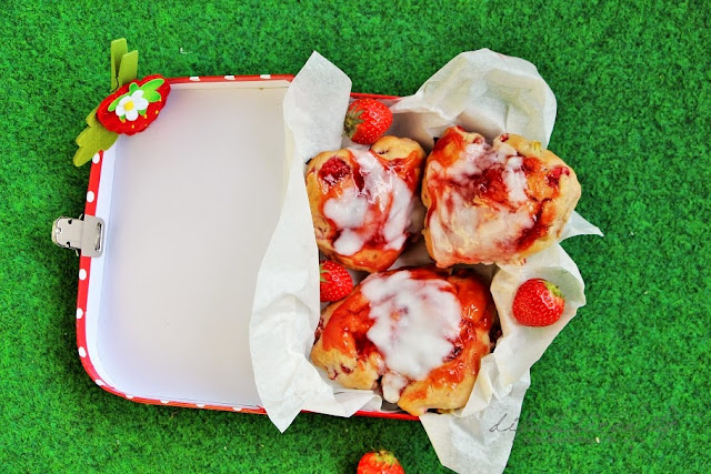 Strawberry Rhubarb Scones with Lemon Glaze