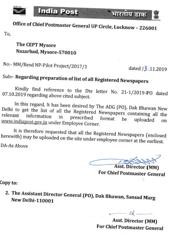 Regarding preparation of list of all Registered Newspapers of UP Circle