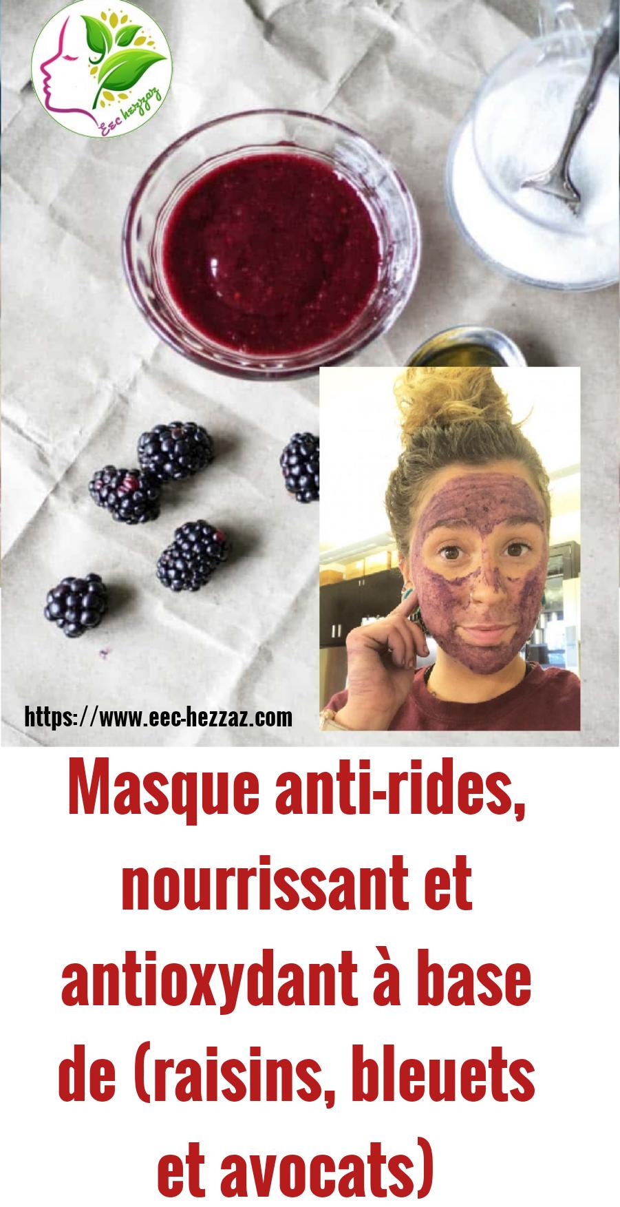 Masque anti-rides, nourrissant et antioxydant à base de (raisins, bleuets et avocats)