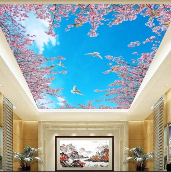 gambar awan yang dengan bunga sakura