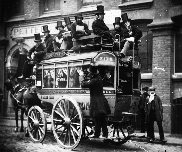 Photo, circa 1860, Men in Top Hats ride on a knifeboard omnibus in London. The Man on the Clapham Omnibus, similar to the US Man on the Street. Court Complexities and Legal Fiction, A Moron In A Hurry marchmatron.com