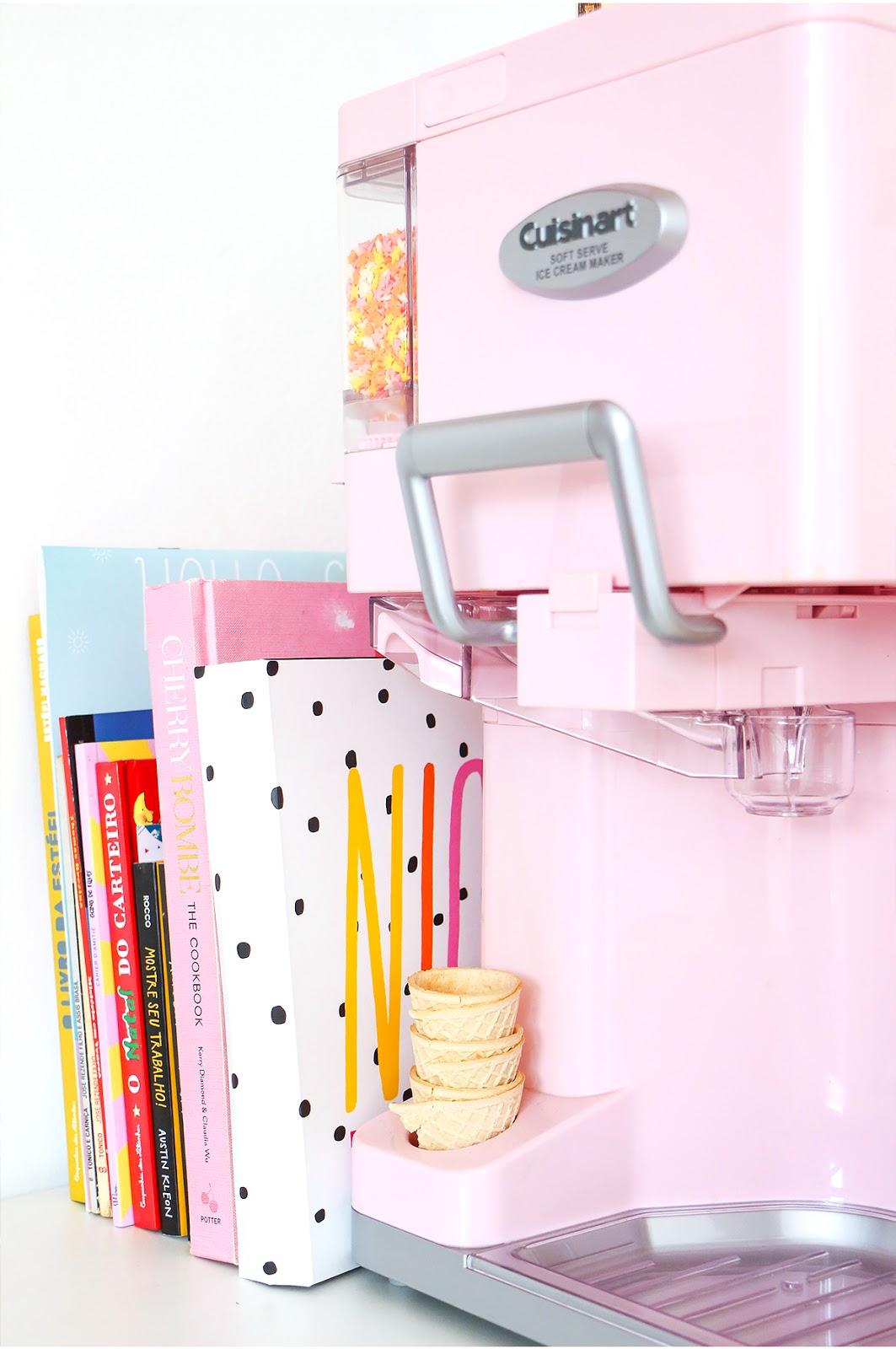 maquina de sorvete retro cor de rosa cuisinart