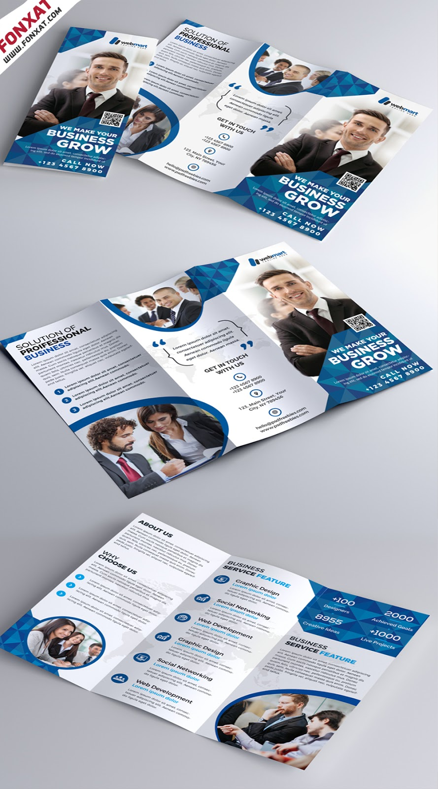 Corporate Tri-fold Brochure Free PSD