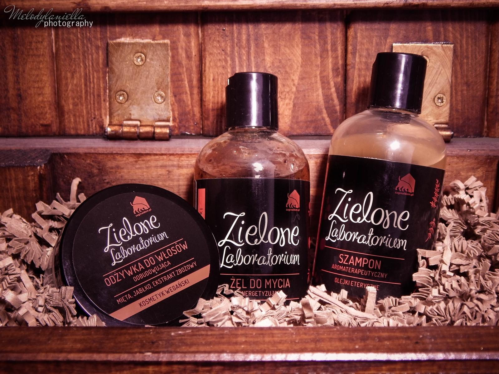 zielone laboratorium odżywka do włosów odbudowująca kosmetyki wegańskie żel do mycia szampon aromaterapeutyczny kosmetyki o mocnych zapachach olejki eteryczne kosmetyki naturalne melodylaniella
