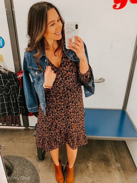 floral swing dress jean jacket old navy thanksgiving day outfit