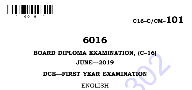 Sbtet diploma c16 English Previous question Papers June 2019