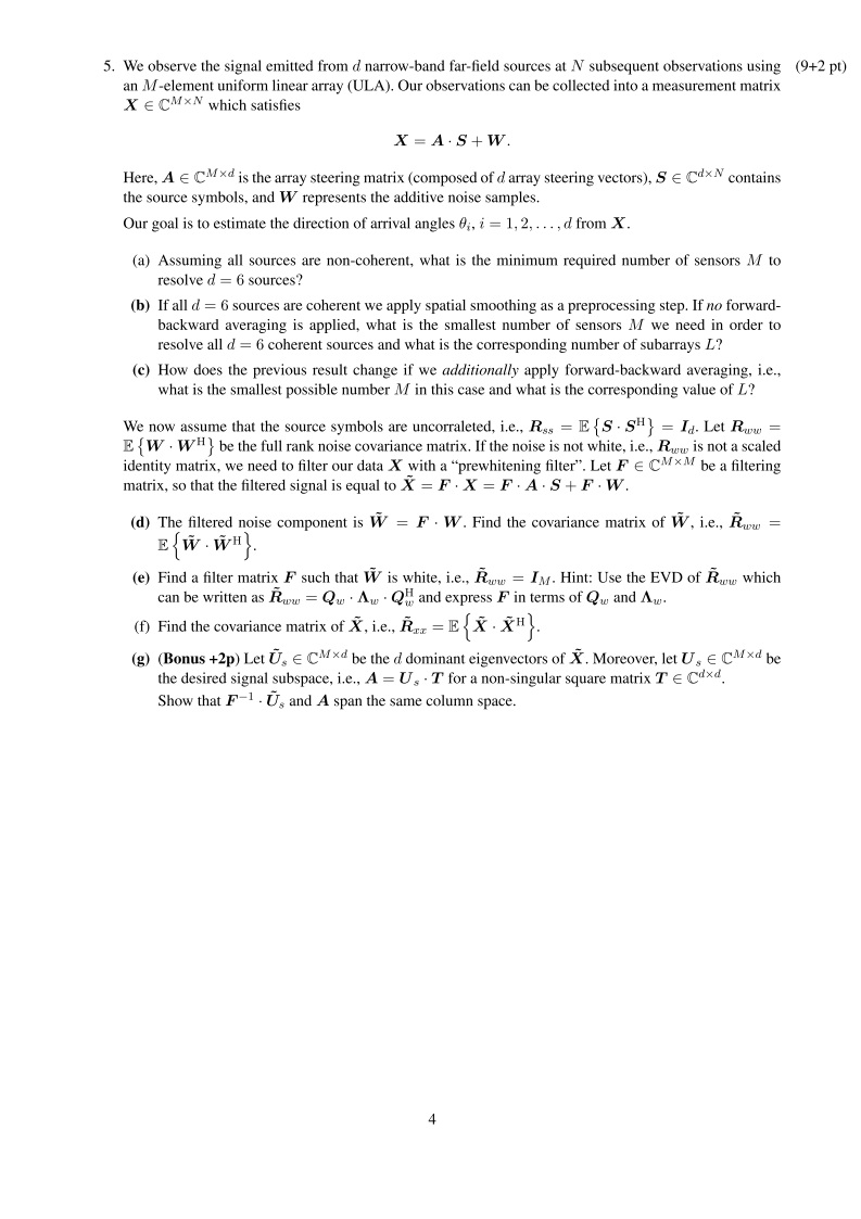engineering: Adaptive and Array Signal Processing final exam question-1
