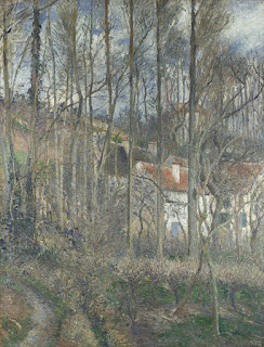 Impressionistic painting of a house in bare trees