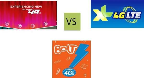 Perbandingan Layanan Internet 4G LTE Dari Bolt, XL Axiata, Dan Telkomsel Berdasarkan Tingkat Pelayanannya
