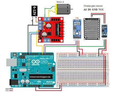 Rangkaian projek jemuran dengan pin digital arduino