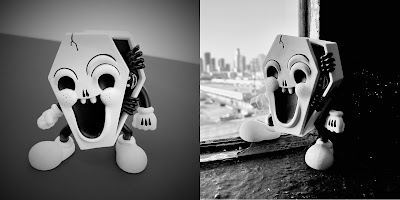 """I'm Already Dead"" OG Edition Black and White Vinyl Figure by Junk Yard x UVD Toys"