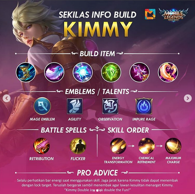 Build Kimmy, Spell dan Talent