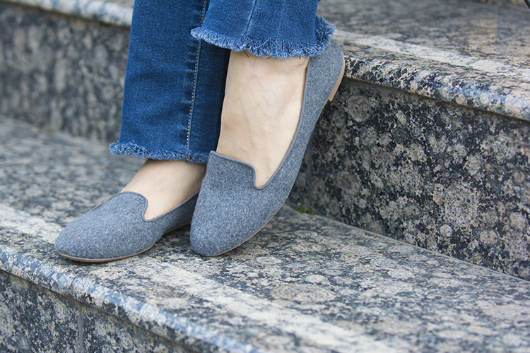 diy frayed jeans grey loafers