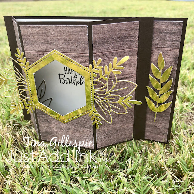 scissorspapercard, Stampin' Up!, Just Add Ink, Peaceful Moments, In Good Taste DSP, Forever Gold SP, Fancy Fold, Bay Window Card