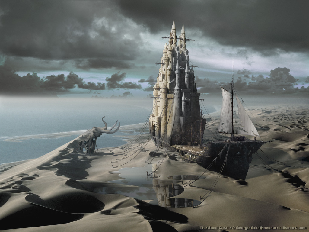 17-The-Sand-Castle-George-Grie-Travels-Through-Neo-Surrealist-Art-Land-www-designstack-co