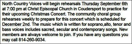 Thursdays--North Country Voices Rehersal