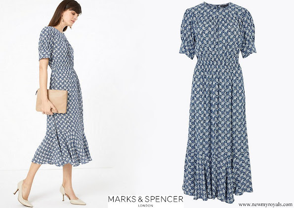 Kate Middleton wore Marks and Spencer Printed Yoke Midi Waisted Dress
