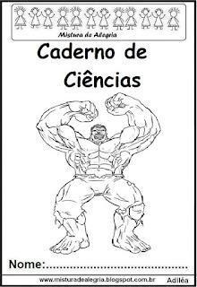 Capa para caderno ciências do Hulk
