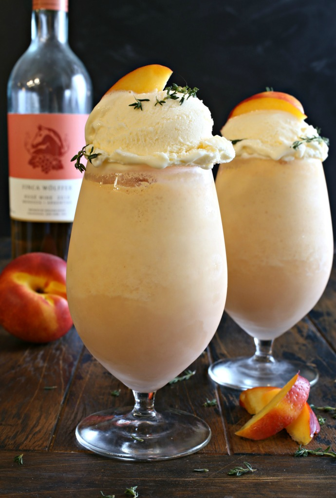 Recipe for a frozen rosé cocktail flavored with nectarines, lime juice and ice cream.
