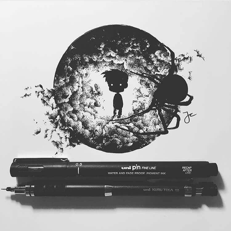 08-Limbo-Spider-Joseph-Catimbang-Detailed-Black-and-White-Ink-Drawings-www-designstack-co
