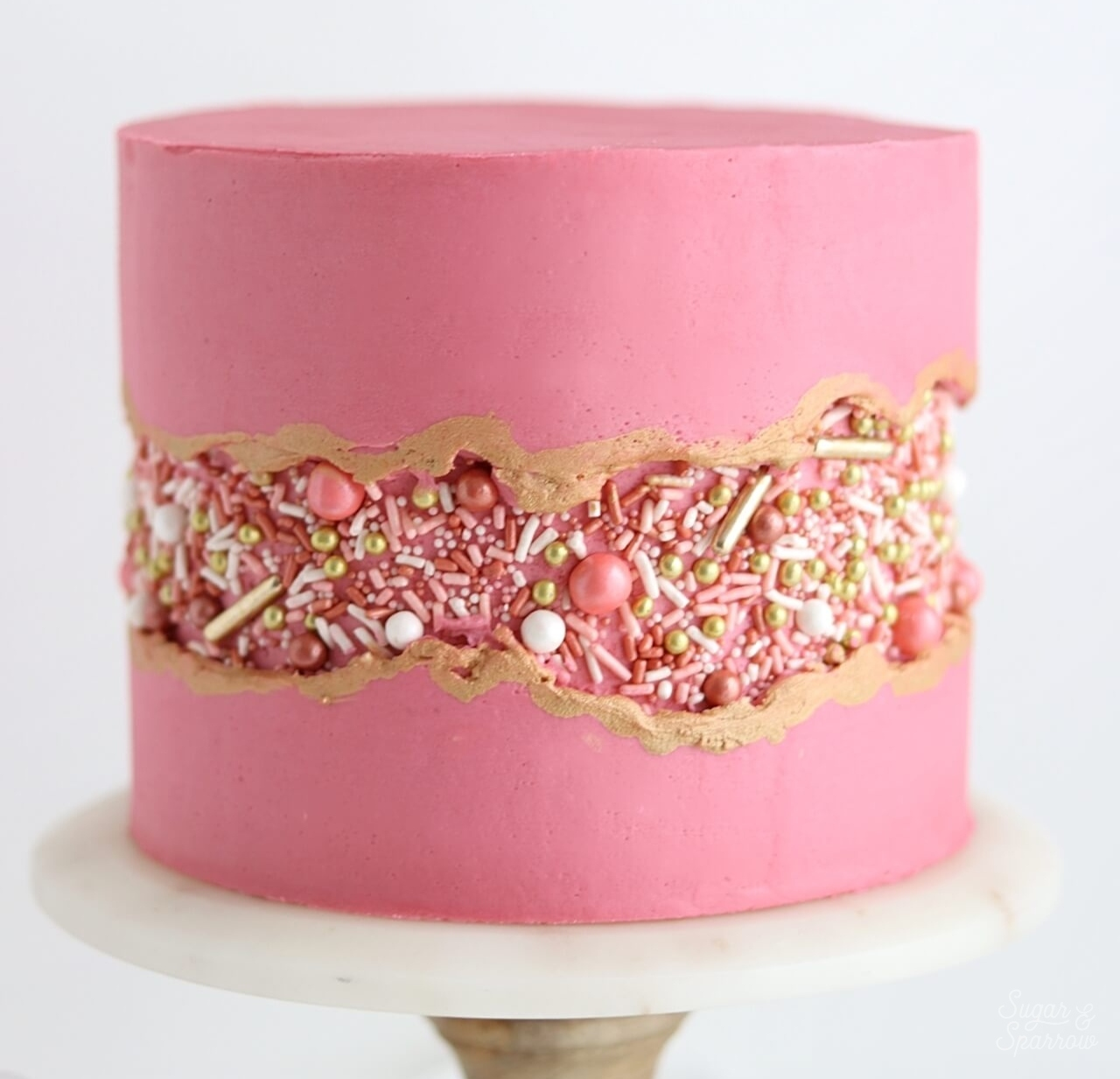 "Sprinkle Fault Line Cake Tutorial - Learn how to create this Sprinkle Fault Line Cake with the prettiest ""Vintage Rose Gold"""