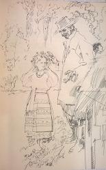 Леся, Миша і кучер Кароль у лісі, малюнок