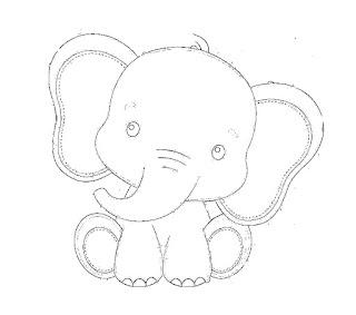desenho de elefante para pintar em fraldas