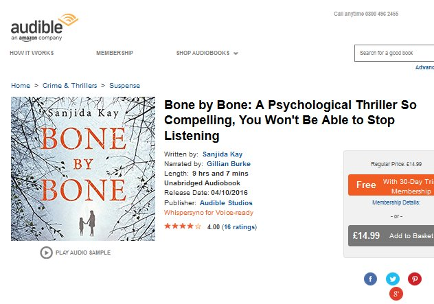 Bone by Bone by Sanjida Kay on Audible