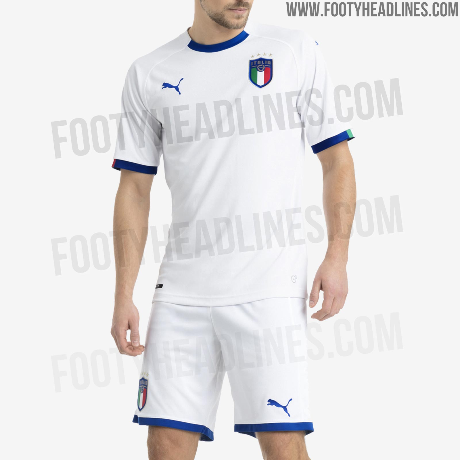 13fd82661 The Italian flag also appears on the upper back of this Italy 2018 away  jersey, which gets combined with white shorts and socks.