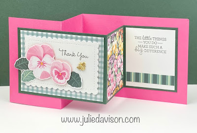 Stampin' Up! Pansy Patch Double Z Fold Card ~ 2021-2022 Annual Catalog ~ www.juliedavison.com #stampinup #pansypatch #pansypetals