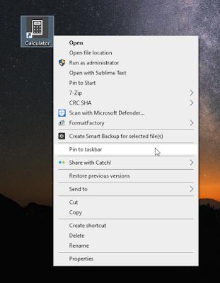 ปักหมุดเครื่องคิดเลขที่ Taskbar เลือก Pin to taskbar