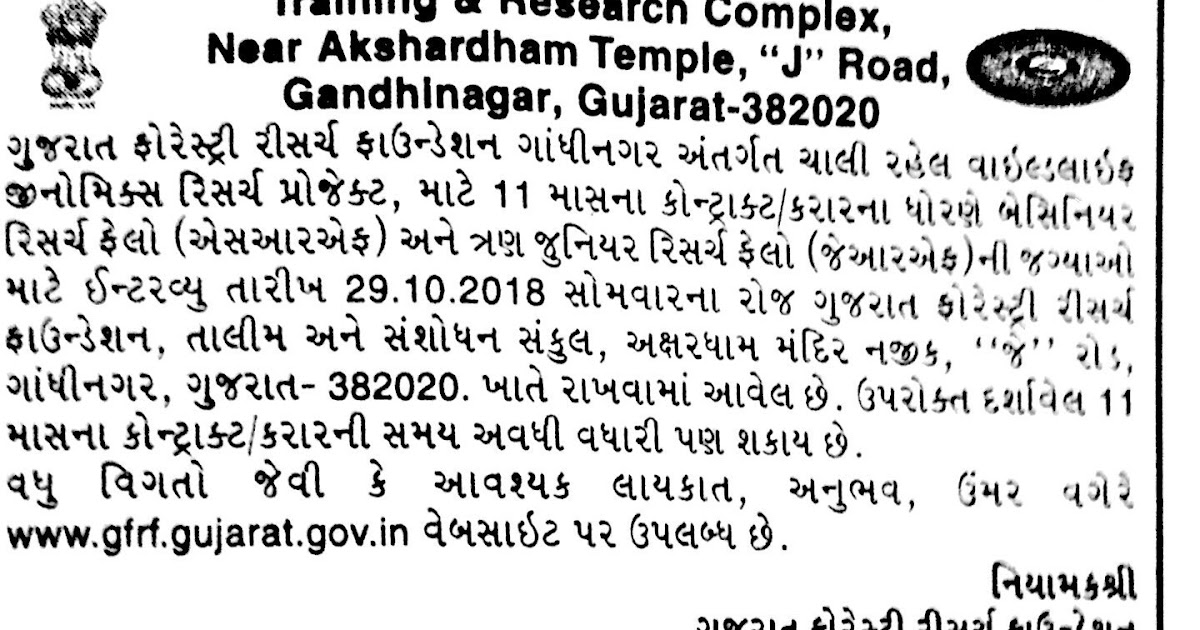 Gujarat Forestry Research Foundation (GFRF) Recruitment