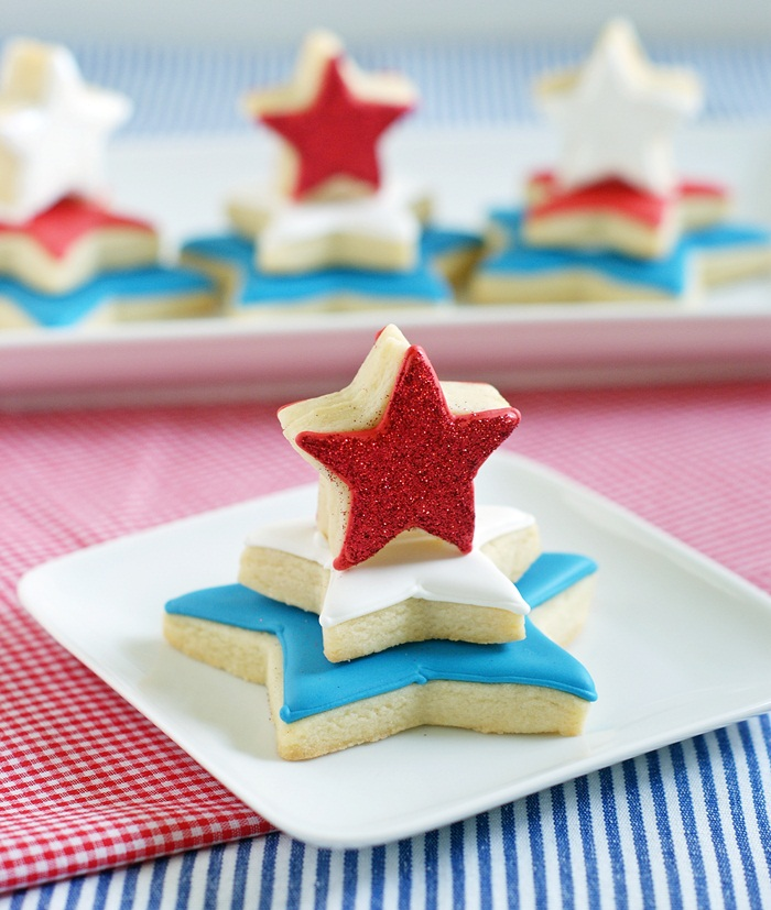red, white, and blue star cookie towers