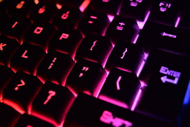 Close up of gaming keyboard, video games, gamers
