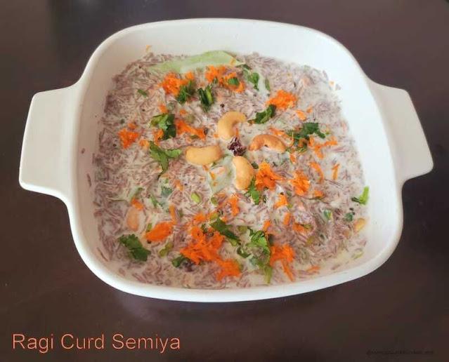 images of  Ragi Curd Semiya / Curd Ragi Semiya Recipe / Thayir Ragi Semiya Recipe / Ragi Thayir Semiya / Finger Millet Vermicelli Curd Bath / Bagala bhath With Ragi Semiya  - Millet Recipes