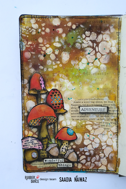 Art journal spread with Rubber Dance stamps Textured Mushrooms. Autumn inspired