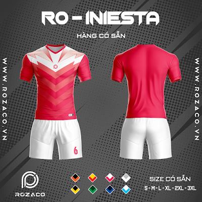 Áo Không Logo Rozaco RO-INIESTA Màu Đỏ