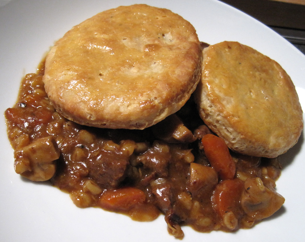 Beef Ale and Barley Stew with a Mustard Suet Crust