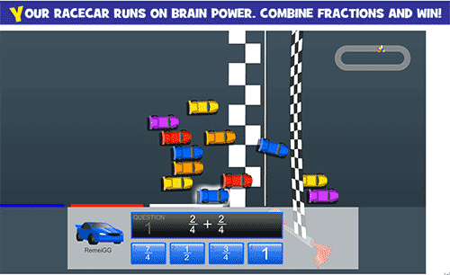 Adding and subtracting fractions - Race car game