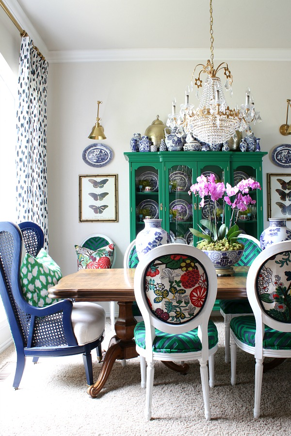Green China Cabinet, Vintage Crystal Chandelier, Vintage Cane Wingback Chairs, Schumacher Chiang Mai Dragon Alabaster Fabric