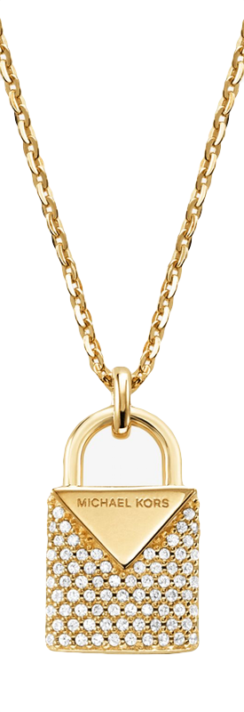 MICHAEL KORS Precious Metal-Plated Sterling Silver Pavé Lock Necklace