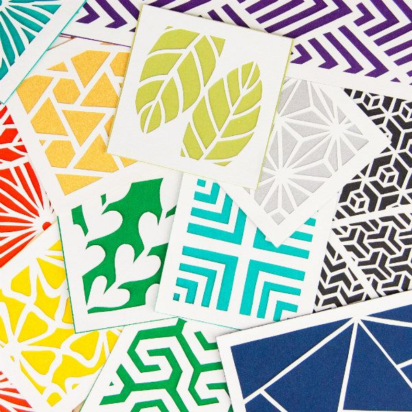 botanical and geometric colorful paper cut squares