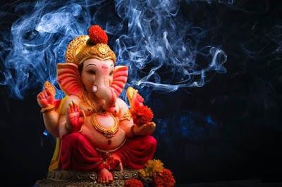 Lord Ganesha image with smokey background